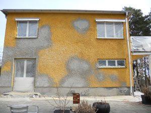 Pågående fasadrenovering, Täby